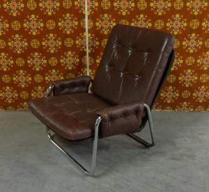 Leren Lounge Fauteuil.2 Jaren 70 Chromen Buisframe Notenbruin Lederen Lounge Fauteuils
